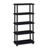 Rough N Ready 5 Shelf Open Storage System, Resin, 36w x 18d x 74h, Black