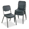 Iceberg Rough N Ready Series Original Stack Chair, Resin, Black/Gray, 4/Carton