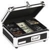 Plastic &amp; Steel Cash Box w/Tumbler Lock, Black &amp; Chrome