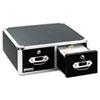 Vaultz Locking 5 x 3 Two-Drawer Index Card Box, 3000-Card Capacity, Black