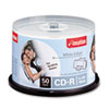 CD-R Discs, 700MB/80min, 52x, Spindle, Matte White, 50/Pack