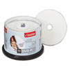 Inkjet Printable DVD-R Discs, 4.7GB, 16x, Spindle, White, 50/Pack