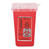 Impact Sharps Waste Receptacle, Square, Plastic, 1 qt, Red