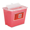 Sharps Container, Square, Plastic, 2 gal, Red