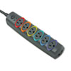 Kensington SmartSockets Color-Coded Strip Surge Protector, 6 Outlets, 8ft Crd