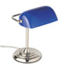 Traditional Incandescent Banker's Lamp, Blue Glass Shade, Chrome Base, 14 Inches