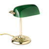Traditional Incandescent Banker's Lamp, Green Glass Shade, Brass Base, 14 Inches