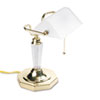 Ledu Incandescent Banker's Lamp, Glass Shade, Brass Base, Acrylic Arm, 14 5/8