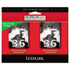 Lexmark 18C2236 (36) Ink, 175 Page-Yield, 2/Pack, Black