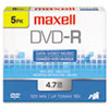 Maxell DVD-R Discs, 4.7GB, 16x, w/Jewel Cases, Gold, 5/Pack
