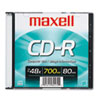 Maxell CD-R Disc, 700MB/80min, 48x, w/Slim Jewel Case, Silver