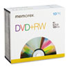 Memorex DVD+RW Discs, 4.7GB, 4x, w/Jewel Cases, 10/Pack