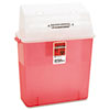 Sharps Container for Patient Room, Plastic, 3 Gallon, Rectangular, Red