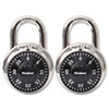Combination Lock, Stainless Steel, 1-7/8&quot; Wide, Black Dial, 2/Pack