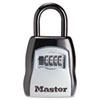Locking Combination 5-Key Steel Box, 3 1/2w x 1 5/8d x 4h, Black/Silver