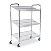 Kwik-File 3-Shelf Wire Mail Tote Cart, 43½w x 18d x 55h, Chrome