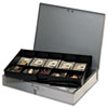 SteelMaster Extra-Wide Steel Cash Box w/10 Compartments, Key Lock, Gray