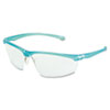 Refine 201 Safety Glasses, Wraparound, Clear AntiFog Lens, Teal Frame