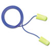 3M E-A-Rsoft Yellow Neon Soft Foam Earplugs, Corded, Regular Size, 200/Box