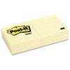 Post-it Notes Original Notes, 3 x 3, Lined, Canary Yellow, 6 100-Sheet Pads/Pack