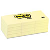 Post-it Notes Original Notes, 1-1/2 x 2, Canary Yellow, 12 100-Sheet Pads/Pack
