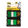 Post-it Flags Marking Flags in Dispensers, Green, 50 Flags/Dispenser, 12 Dispensers/Pack