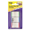 Post-it Durable File Tabs, 1 x 1 1/2, Striped, Blue/Green/Red, 66/Pack