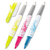 Flag + Highlighter and Pen, BE/PK/YW, White Graphic Barrel, 3/Pk