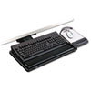 "Positive Locking Keyboard Tray, Highly Adjustable Platform, 21-3/4"" Track, Black"
