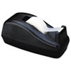 "Deluxe Desktop Tape Dispenser, Attached 1"" core, Heavily Weighted, Black"