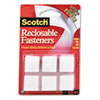 Scotch Reclosable Hook and Loop Fastener Squares, 7/8