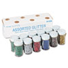 Pacon Spectra Glitter, .04 Hexagon Crystals, Assorted, .75 oz Shaker-Top Jar, 12/Pack