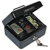 Select Individual-Size Cash Box, 4-Compartment Tray, 2 Keys, Black/Silver Handle
