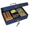 Select Compact-size Cash Box, 4-Compartment Tray, 2 Keys, Blue w/Silver Handle