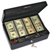 Select Spacious Size Cash Box, 9-Compartment Tray, 2 Keys, Black w/Silver Handle