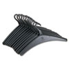 "Heavy-Duty One-Piece Molded Plastic Hangers, 16-3/4"", Black, 12/Pack"