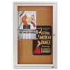 Enclosed Bulletin Board, Natural Cork/Fiberboard, 24 x 36, Aluminum Frame
