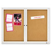 Enclosed Bulletin Board, Natural Cork/Fiberboard, 48 x 36, Aluminum Frame