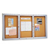 Enclosed Bulletin Board, Natural Cork/Fiberboard, 72 x 36, Aluminum Frame