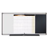 3-in-1 Board, Embossed Foam, 35 x 24, Black/White, Gray Aluminum/Plastic Frame