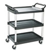 Rubbermaid Commercial Economy Plastic Cart, Three-Shelf, 18-5/8w x 33-5/8d x 37-3/4h, Black