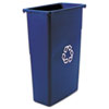 Rubbermaid Commercial Slim Jim Recycling Container, Rectangular, Plastic, 23gal, Blue