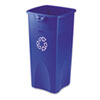 Rubbermaid Commercial Untouchable Recycling Container, Square, Plastic, 23gal, Blue