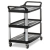 Rubbermaid Commercial Open Sided Utility Cart, Three-Shelf, 40-5/8w x 20d x 37-13/16h, Black