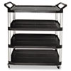 Open Sided Utility Cart, 4-Shelf, 40-5/8w x 20d x 51h, Black