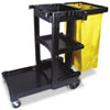 Multi-Shelf Cleaning Cart, 3-Shelf, 20w x 45d x 38-1/4h, Black