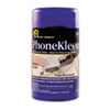 PhoneKleen Wet Wipes, Cloth, 5 x 6, 50/Tub