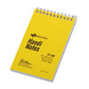 National Wirebound Memo Book, Narrow Rule, 3 x 5, White, 60 Sheets