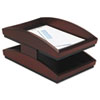 Rolodex Executive Woodline II Front Loading Letter Desk Tray, Two Tier, Wood, Mahogany