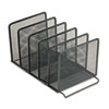 Rolodex Mesh Stacking Sorter, Five Sections, Metal, 8 1/2w x 14 1/4d x 7 1/2h, Black